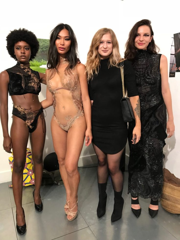 Models wearing HERV� by C�line Marie, alongside the designer