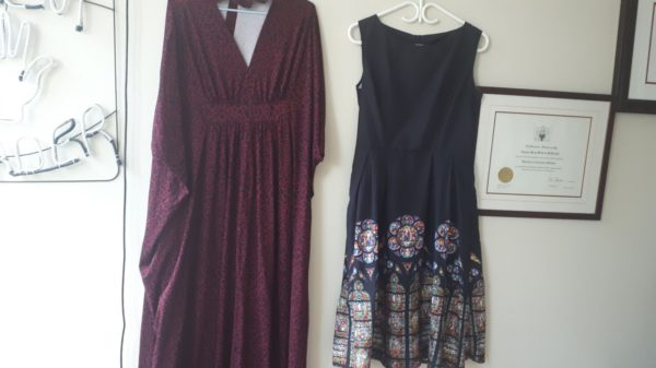 Two of Alanna's dresses