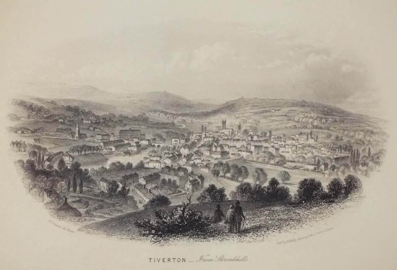 Image result for old print of tiverton from shrinkhills