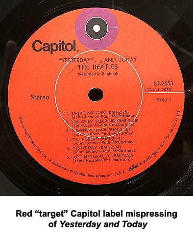 beatles yesterday red target label
