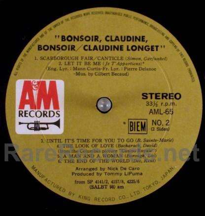 claudine longet - bonsoir claudine bonsoir japan LP