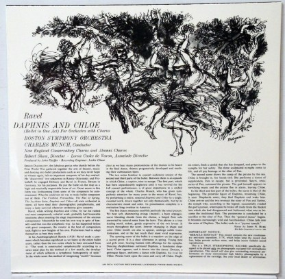 Daphnis & Chloe - Munch/Boston Symphony Classic Records 4 LP 45 RPM set