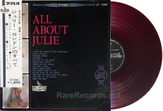 Julie London - All About Julie 1963 red vinyl Japan LP with ultra rare hankake obi