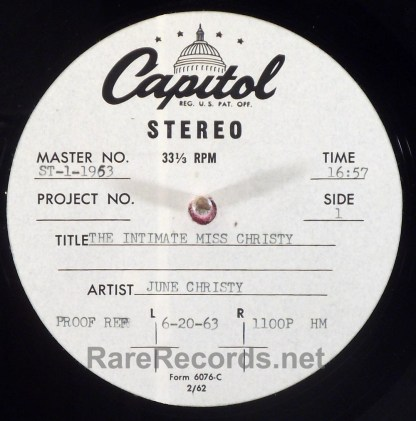 June Christy - The Intimate Miss Christy 1963 stereo acetate with cue sheet