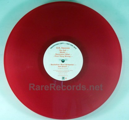 Squeeze - UK Squeeze - red vinyl white label promo LP