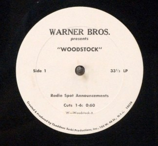 "Woodstock - Ultra rare 1970 10"" radio spots LP for film"