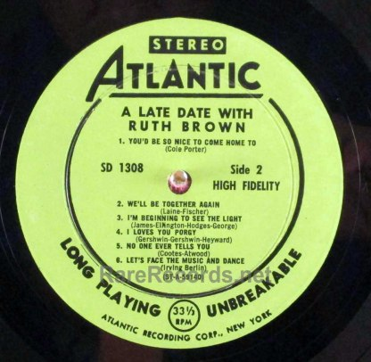 late date with ruth brown stereo LP