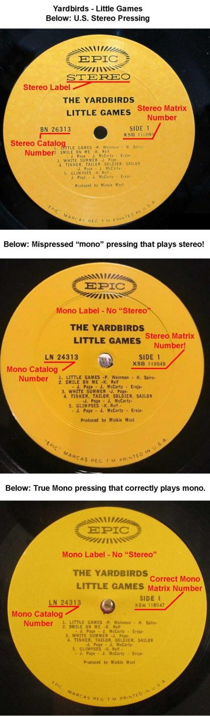 yardbirds - little games mispressed mono LP