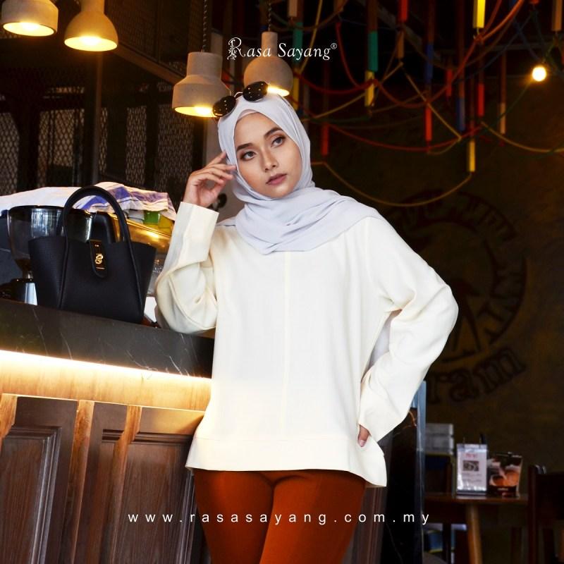 Fesyen Rasa Sayang, blouse muslimah, Ella Blouse Muslimah Cream White Color