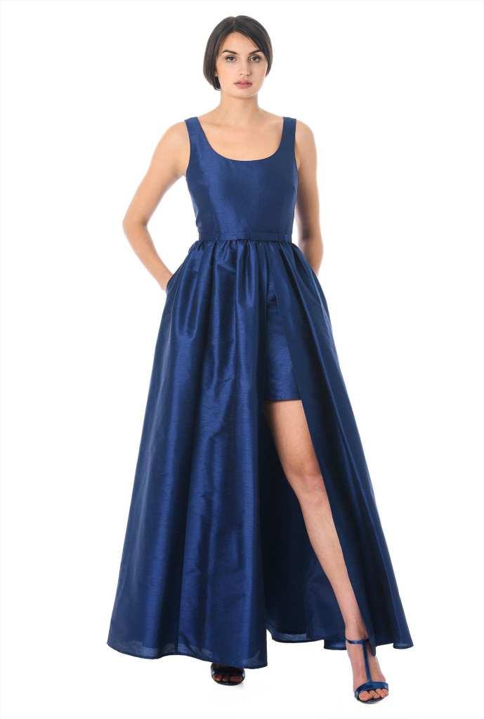 eshakti Bow Tie Dupioni Vented Maxi Dress