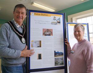 Mayor John Matthews and Hazel Barnard from Rase Heritage Society at the exhibition in the Old Police Station
