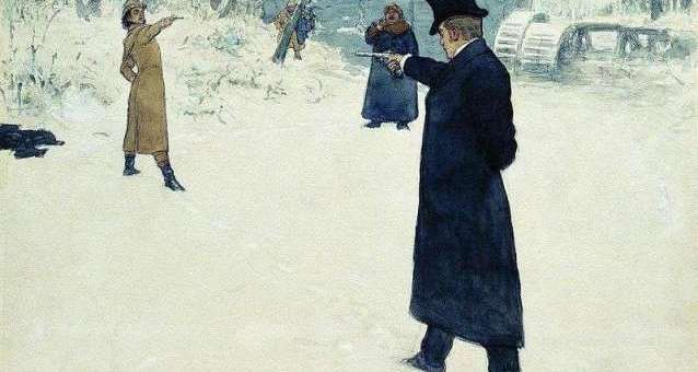 The fictional pistol duel between Eugene Onegin and Vladimir Lensky. Watercolour by Ilya Repin (1899)