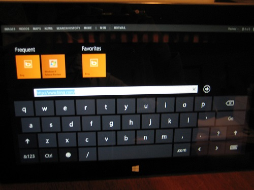 Default on-screen keyboard layout on Microsoft Windows Surface RT