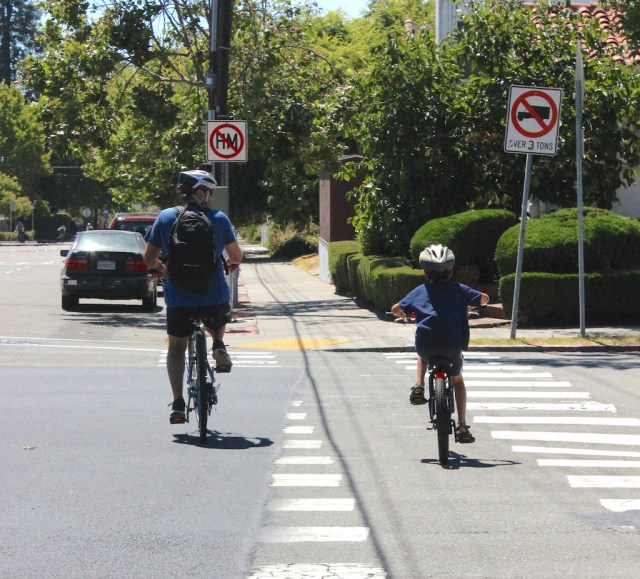 An adult and child biking on a crosswalk
