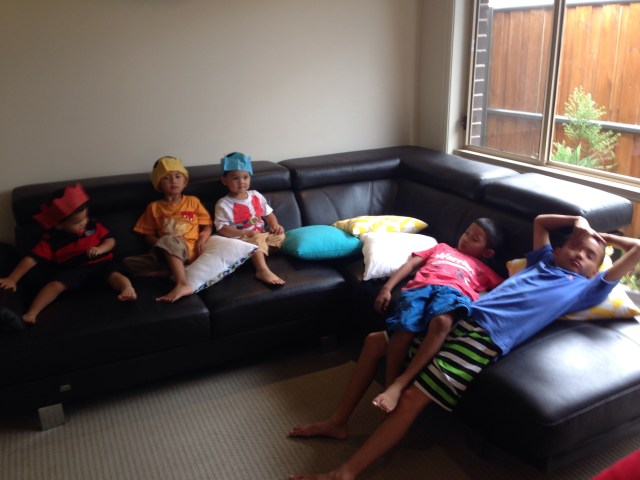 Cooper, Neo, Nicholas, Koby and Kenyon all chilling out on the lounge