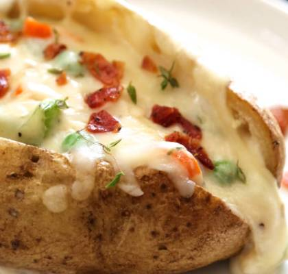 Baked Potatoes With Chicken and Cheese recipe by rasoi menu