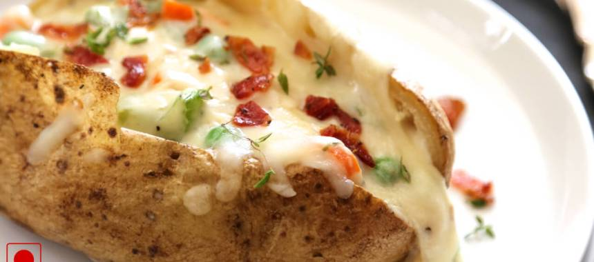 Baked Potatoes with Chicken and Cheese Recipe