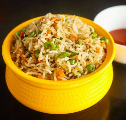 Veg Fried Rice with Tofu Curry Recipe