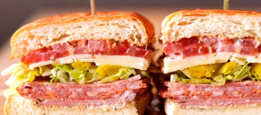 Italian Chicken Salami Club Sandwich Recipe
