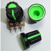 5 Pezzi BLACK PLASTIC KNOB WITH GREEN POINTER