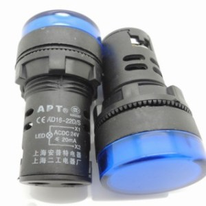 Blue 16MM Highlighting the LEDindicator light AD16opening 16 mm - 24 VOLT DC