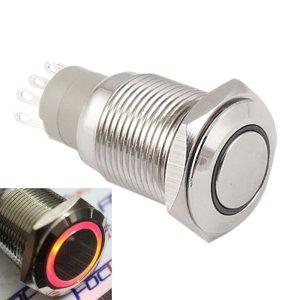 Self-locking Pulsante with Orange LED 16mm 12V Metal bottone
