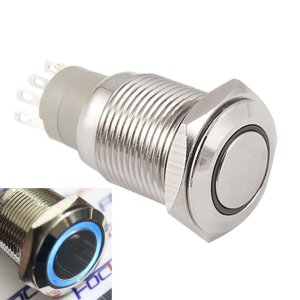 Self-locking Pulsante with Blue LED 16mm 12V Metal bottone