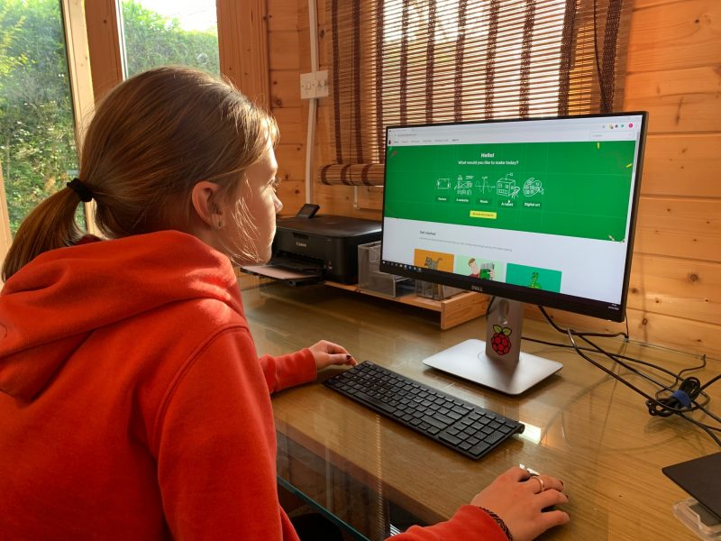 a teenager doing digital making at home
