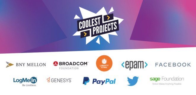 Coolest Projects online showcase 2021 sponsors: BNY Mellon, Broadcom Foundation, Liberty Global, EPAM, Facebook, LogMeIn, Genesys, PayPal, Twitter, Sage Foundation.