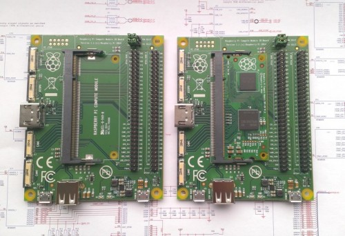 Empty IO board on the left: Compute Module snapped into place on the right.