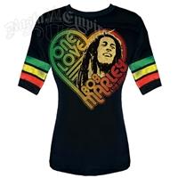 Bob Marley One Love Black Football T-Shirt - Women's