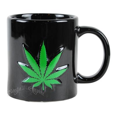 Marijuana Leaf Embossed 20 oz Mug