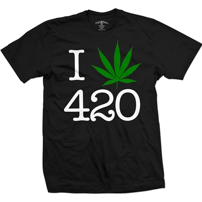 Seven Leaf I Love 420 Pot Leaf Black T-Shirt – Men's