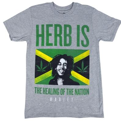 Bob Marley Herb Is Jamaica Heather Grey T-Shirt - Men's