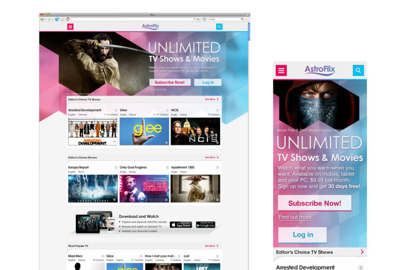 Entertainment Web, mobile app