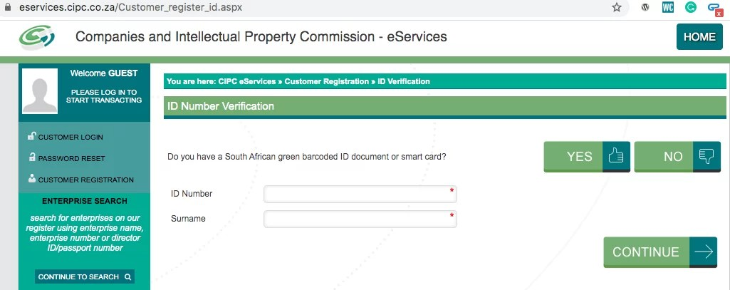 id/passport number to register a company online