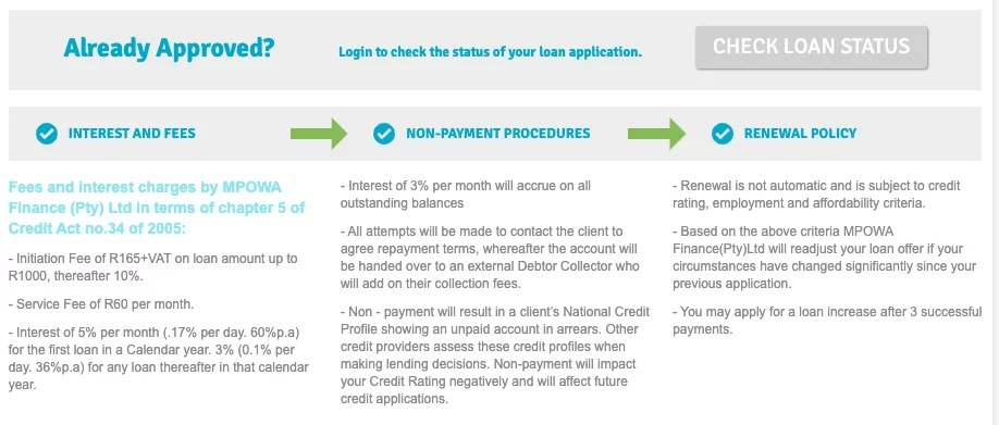 Fees and interest charges by MPOWA Finance (Pty) Ltd in terms of chapter 5 of Credit Act no.34 of 2005
