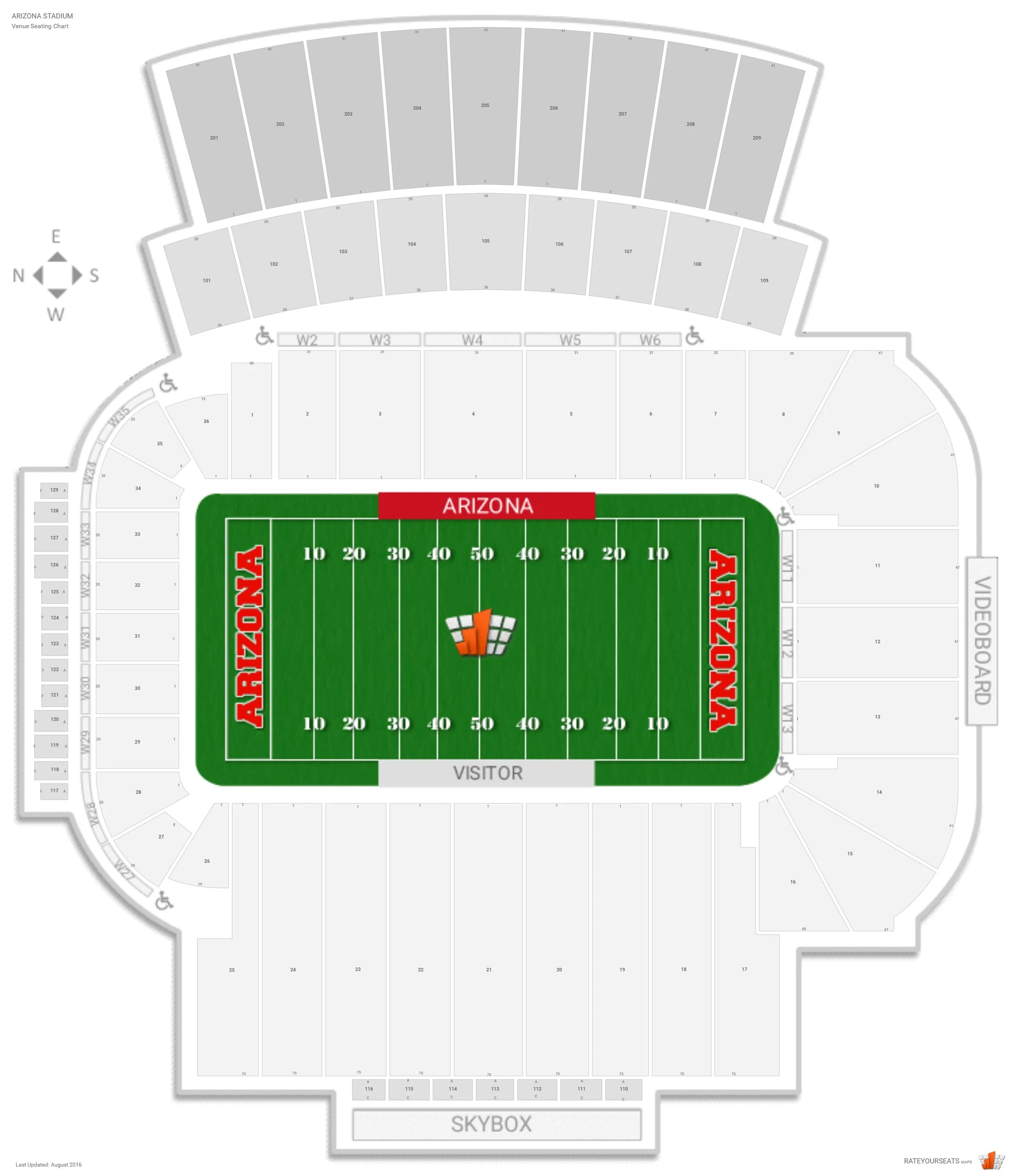 University Arizona Football Stadium Seating Chart Tucson