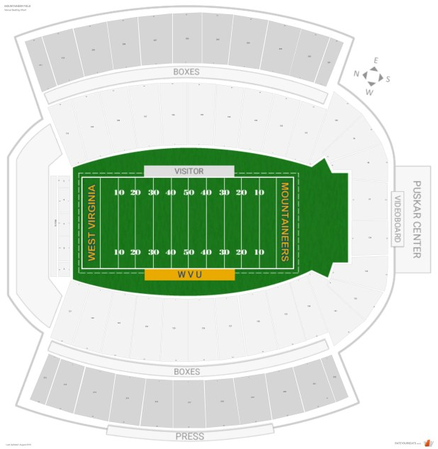 Mountaineer Field At Milan Puskar Stadium Seating Chart With Row Numbers