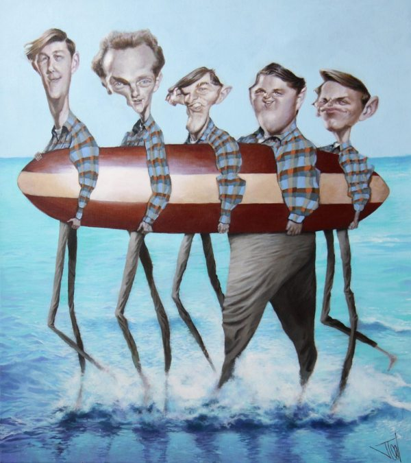 Convoluted Conversation Part 1: caricature of the early Beach Boys by Jota Leal.