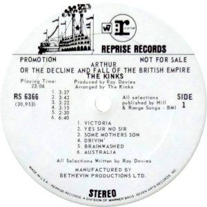 White label promo of Reprise pressing of ARTHUR album.