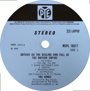 Arthur album: original stereo label for ARTHUR LP album on Pye from England.
