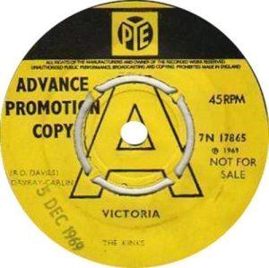 Arthur album: yellow label promo copy of VICTORIA single on Pye UK.
