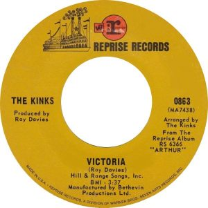 Arthur album: brown label stock copy for VICTORIA single on Reprise from America.