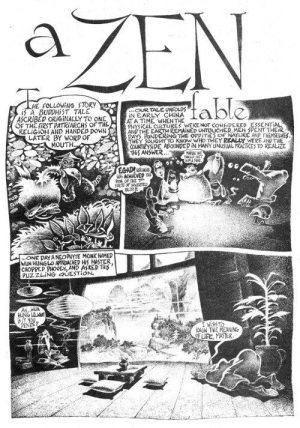 Convoluted Conversation Part 2: splash page for Fred Schrier's comix strip A ZEN FABLE.
