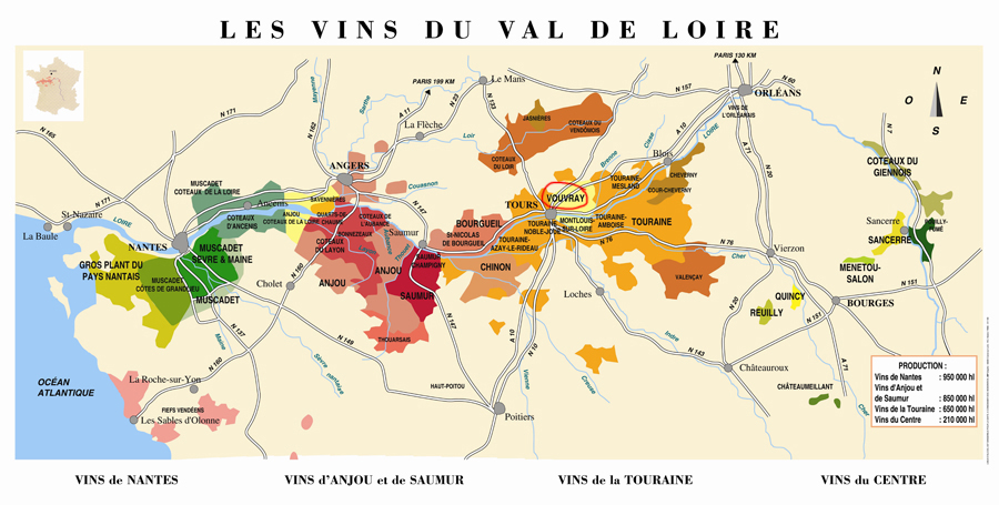 The Loire Valley. Vouvray is circled.