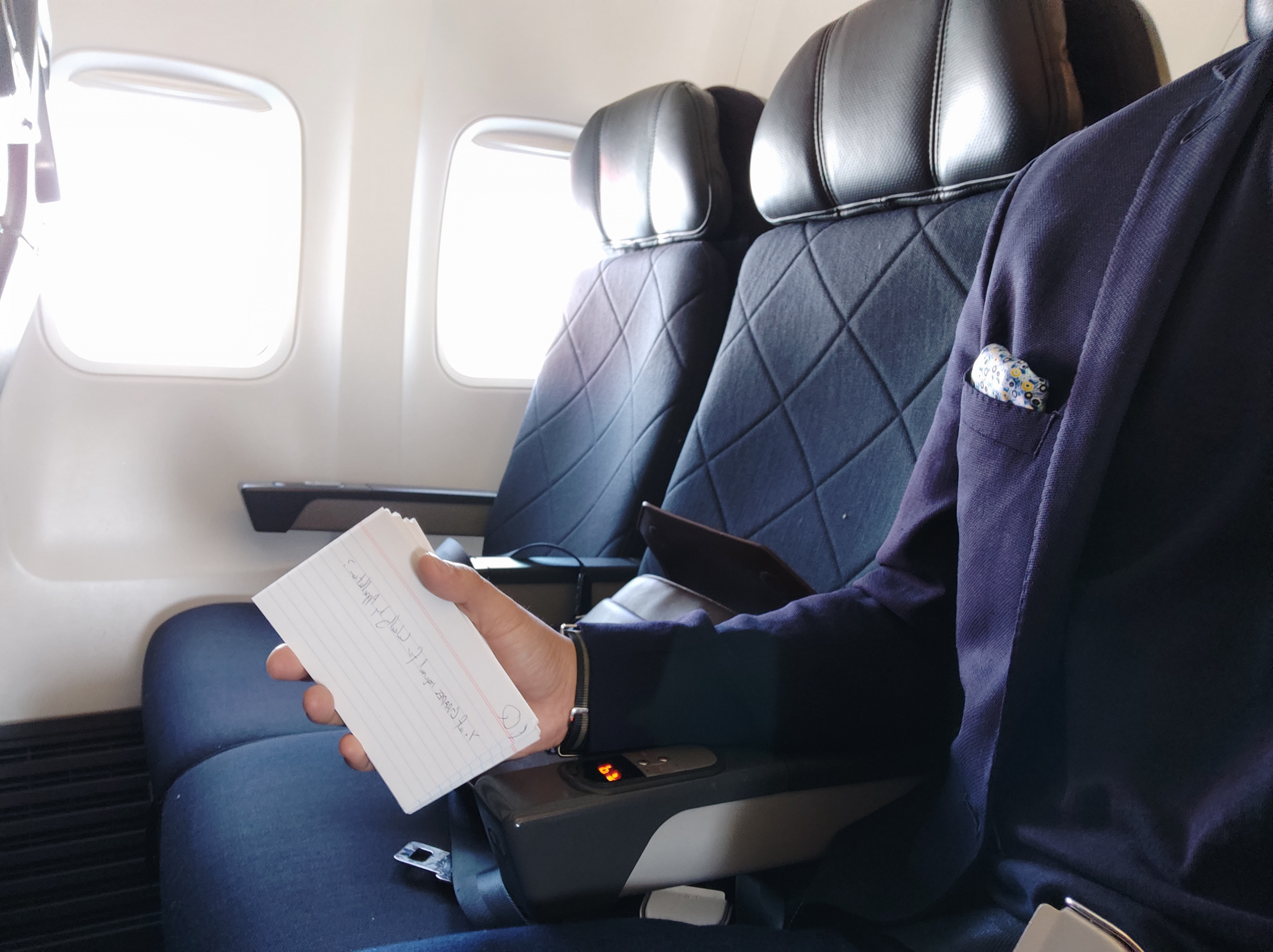 Flashcards on the flight to Melbourne.