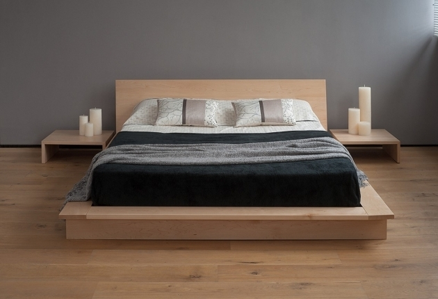 Floating Headboard Queen Brown Wooden Bed With Double