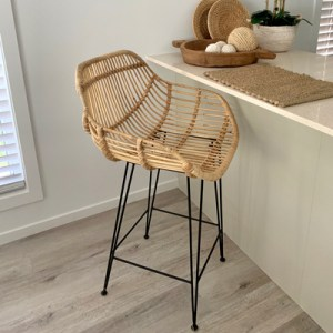 Valencia Rattan Bar Stool at kitchen island