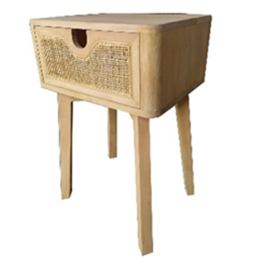 teak bedside table with rattan weave drawer
